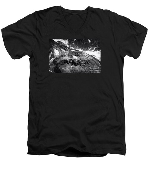 Mt St. Helen's Crater Men's V-Neck T-Shirt by David Millenheft