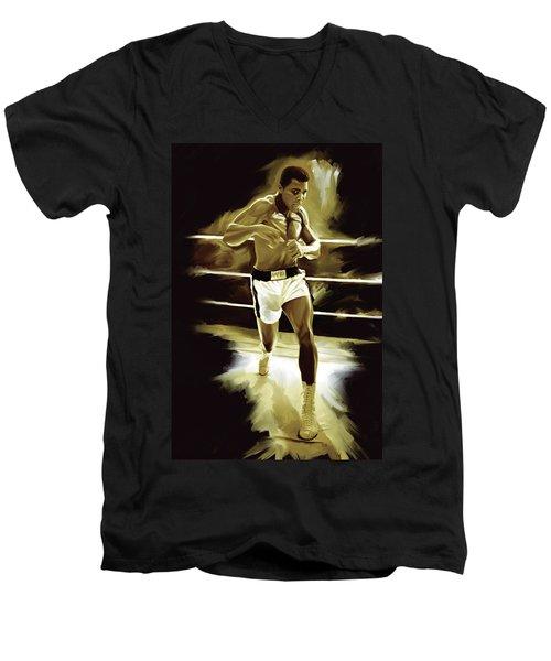 Muhammad Ali Boxing Artwork Men's V-Neck T-Shirt