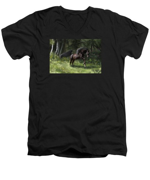 New Beginning Men's V-Neck T-Shirt by Kate Black
