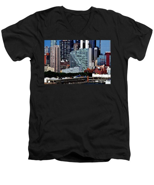 New York City Skyline With Mercedes House Men's V-Neck T-Shirt