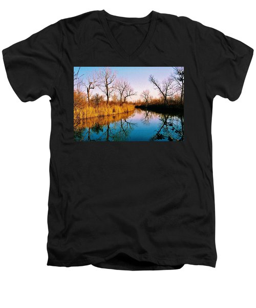 Men's V-Neck T-Shirt featuring the photograph November by Daniel Thompson