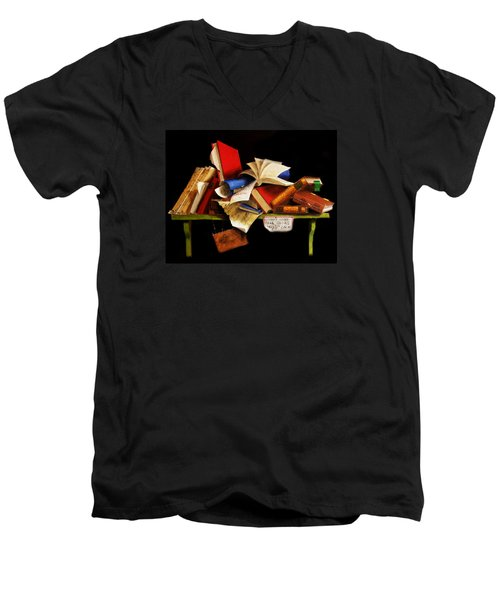 Men's V-Neck T-Shirt featuring the painting Old Books For Sale by Barry Williamson