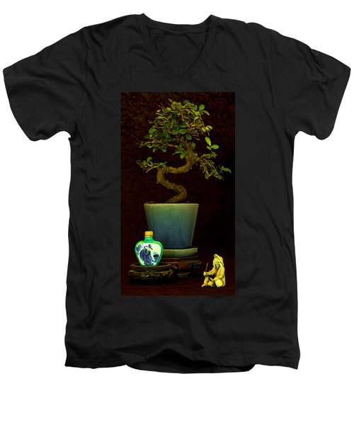 Men's V-Neck T-Shirt featuring the photograph Old Man And The Tree by Elf Evans