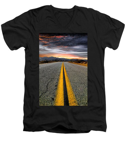 On Our Way  Men's V-Neck T-Shirt by Ryan Weddle