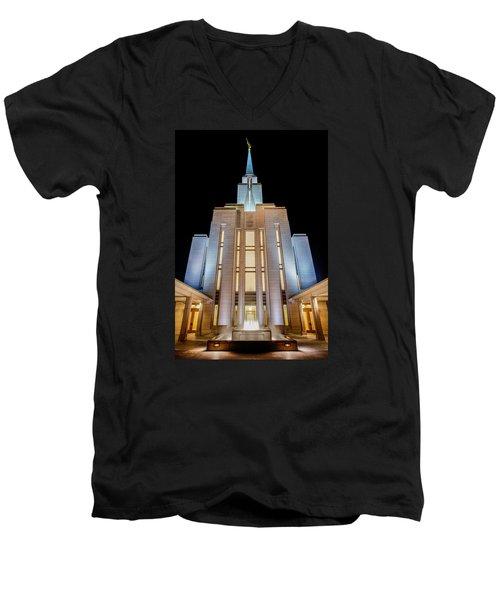 Oquirrh Mountain Temple 1 Men's V-Neck T-Shirt
