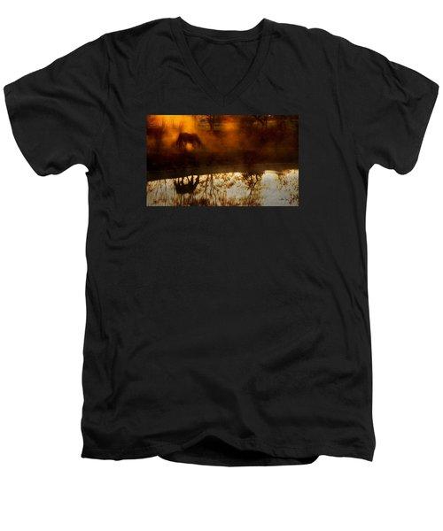 Men's V-Neck T-Shirt featuring the photograph Orange Mist by Joan Davis