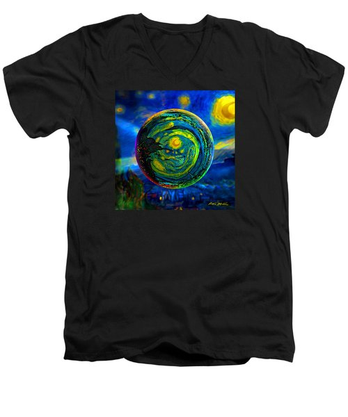 Men's V-Neck T-Shirt featuring the digital art Orbiting A Starry Night  by Robin Moline