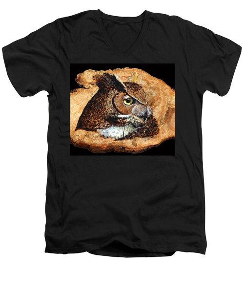 Owl On Oak Slab Men's V-Neck T-Shirt by Ron Haist