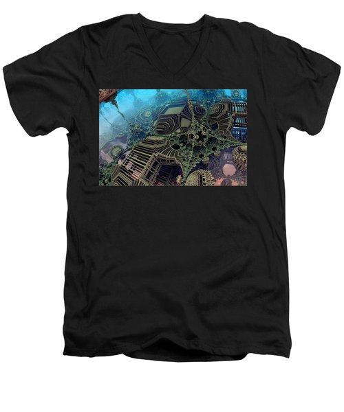 Parallel World  Men's V-Neck T-Shirt by Evgeniy Lankin