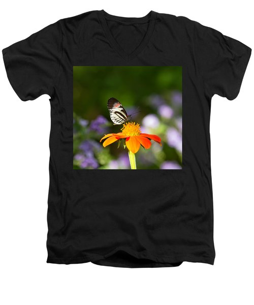 Piano Key Butterfly Men's V-Neck T-Shirt