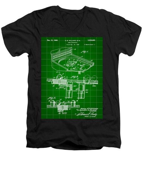 Pinball Machine Patent 1939 - Green Men's V-Neck T-Shirt by Stephen Younts