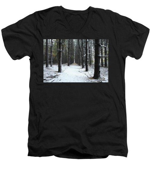 Pines In Snow Men's V-Neck T-Shirt