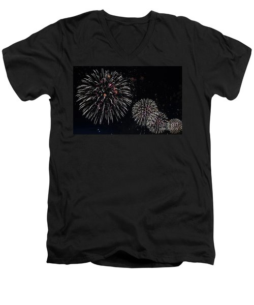 Men's V-Neck T-Shirt featuring the photograph Pink Fireworks by Lilliana Mendez