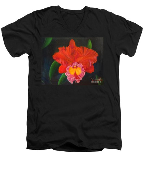 Men's V-Neck T-Shirt featuring the painting Red Orchid by Jenny Lee