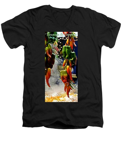 Men's V-Neck T-Shirt featuring the photograph Sausage And Peppers by Lilliana Mendez