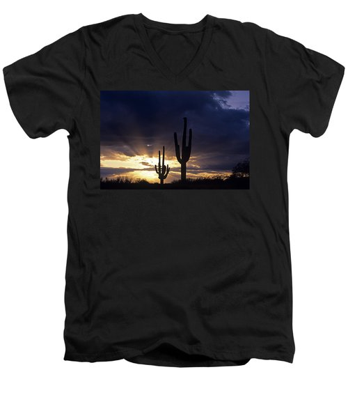 Silhouetted Saguaro Cactus Sunset At Dusk Arizona State Usa Men's V-Neck T-Shirt