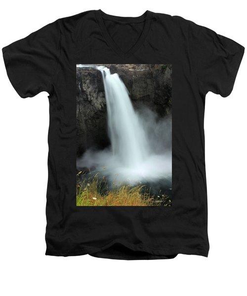 Snoqualmie Falls Men's V-Neck T-Shirt by Kristin Elmquist