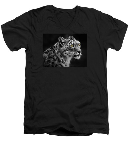 Snow Leopard Men's V-Neck T-Shirt by Nina Bradica