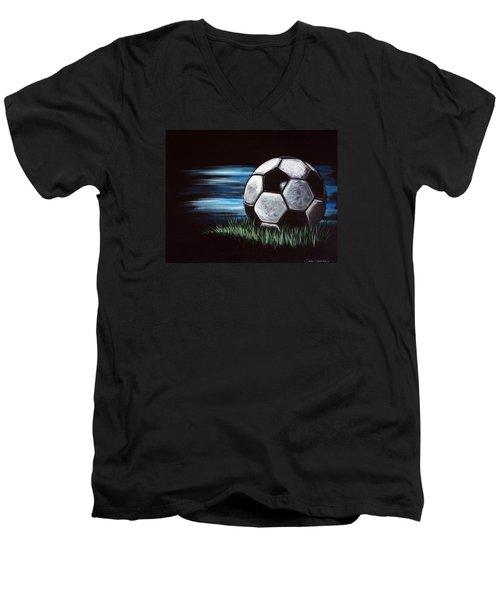 Soccer Ball Men's V-Neck T-Shirt by Dani Abbott