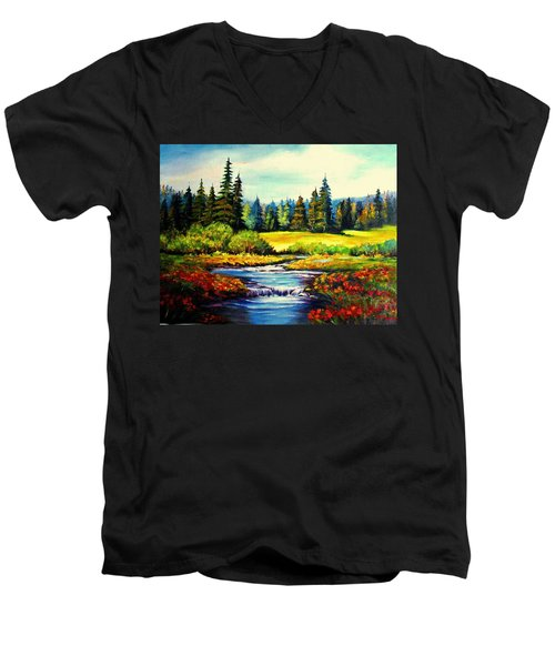 Springtime Men's V-Neck T-Shirt by Hazel Holland