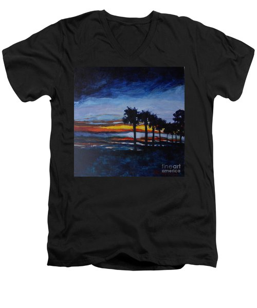 Sunset In St. Andrews Men's V-Neck T-Shirt by Jan Bennicoff