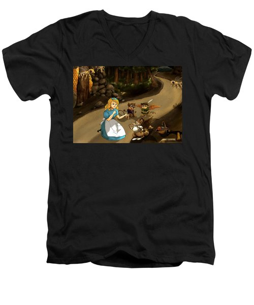 Men's V-Neck T-Shirt featuring the painting Tammy Meets Cedric The Mongoose by Reynold Jay