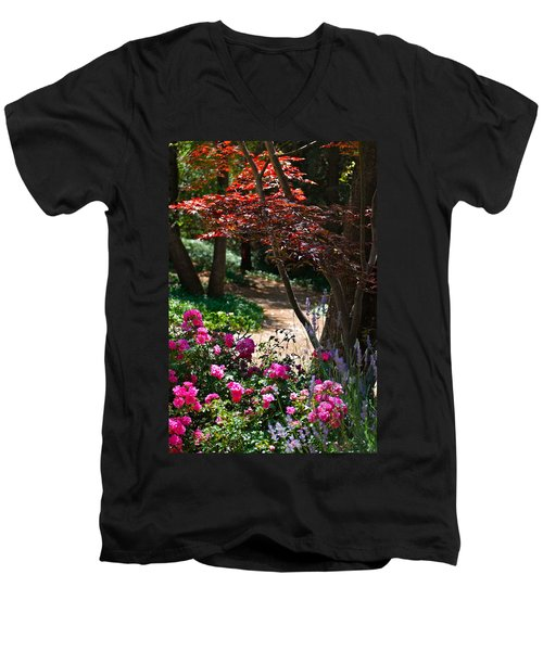 The Garden Path Men's V-Neck T-Shirt by Michele Myers