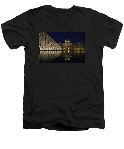 The Louvre Palace And The Pyramid At Night Men's V-Neck T-Shirt