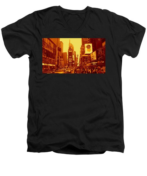 42nd Street And Times Square Manhattan Men's V-Neck T-Shirt