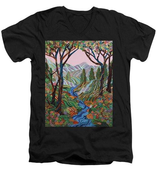 Valley Men's V-Neck T-Shirt by Erika Pochybova