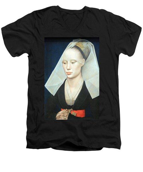 Men's V-Neck T-Shirt featuring the photograph Van Der Weyden's Portrait Of A Lady by Cora Wandel