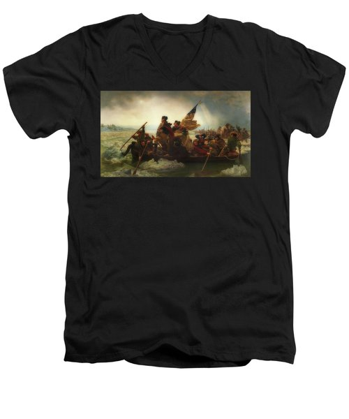 Washington Crossing The Delaware  Men's V-Neck T-Shirt