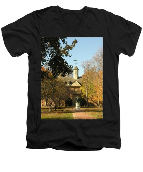 William And Mary College Men's V-Neck T-Shirt by Jacqueline M Lewis