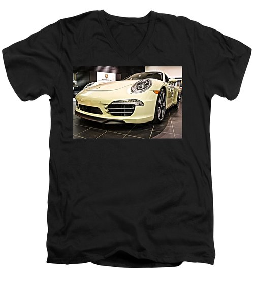 2014 Porsche 911 50th Front Men's V-Neck T-Shirt