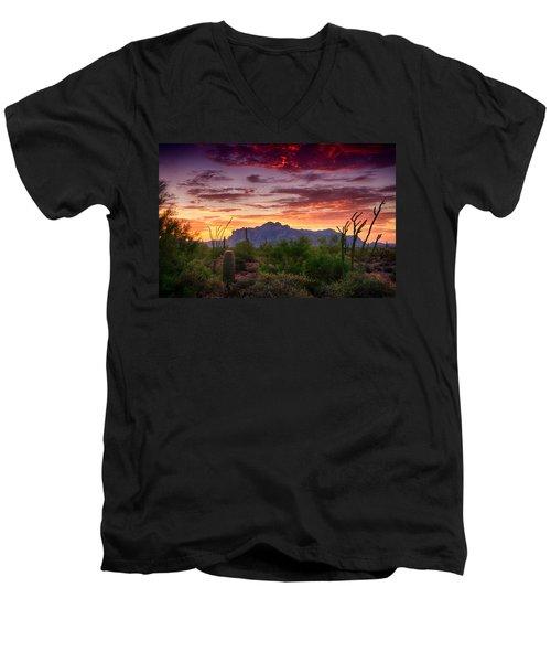 A Superstition Sunrise  Men's V-Neck T-Shirt by Saija  Lehtonen