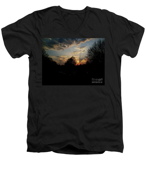 Men's V-Neck T-Shirt featuring the photograph Beauty In The Sky by Kelly Awad