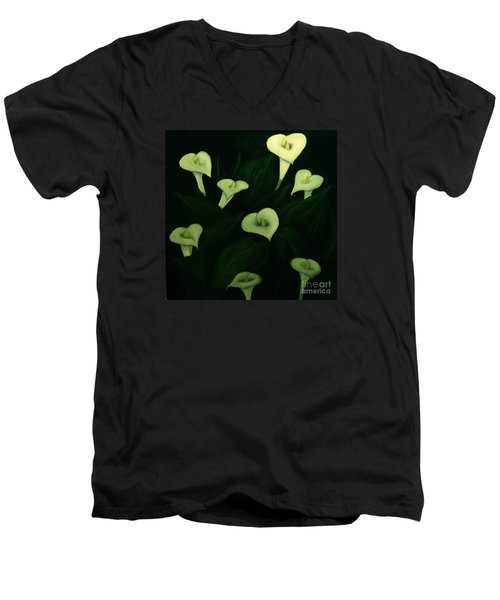 Men's V-Neck T-Shirt featuring the painting Calla Lilies by John Stuart Webbstock