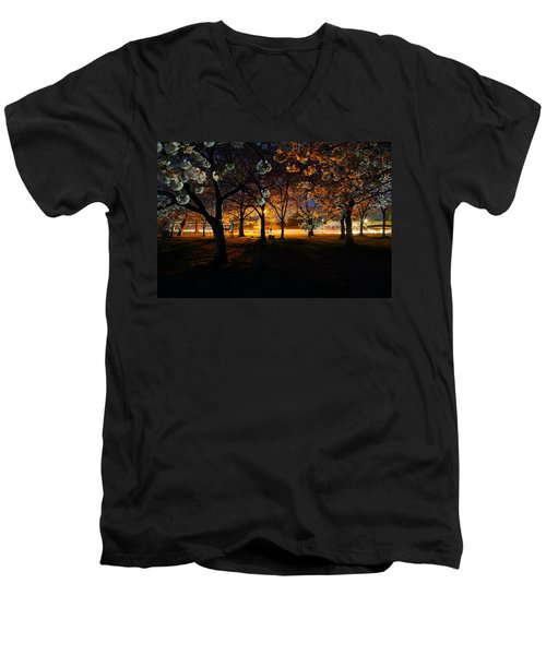 Cherry Blossoms At Night Men's V-Neck T-Shirt