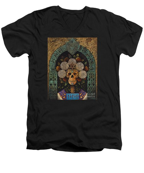 Dia De Muertos Madonna Men's V-Neck T-Shirt