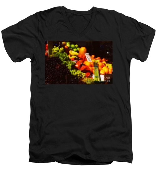 Men's V-Neck T-Shirt featuring the photograph 3 For 2 Dollars by Miriam Danar