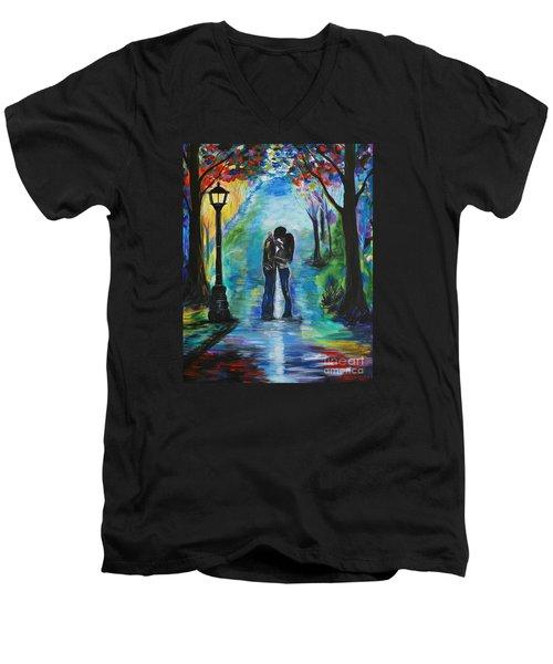Moonlight Kiss Men's V-Neck T-Shirt by Leslie Allen