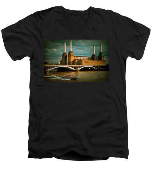Pink Floyd Pig At Battersea Men's V-Neck T-Shirt by Dawn OConnor