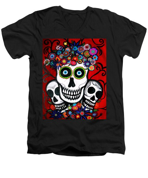 3 Skulls Men's V-Neck T-Shirt by Pristine Cartera Turkus