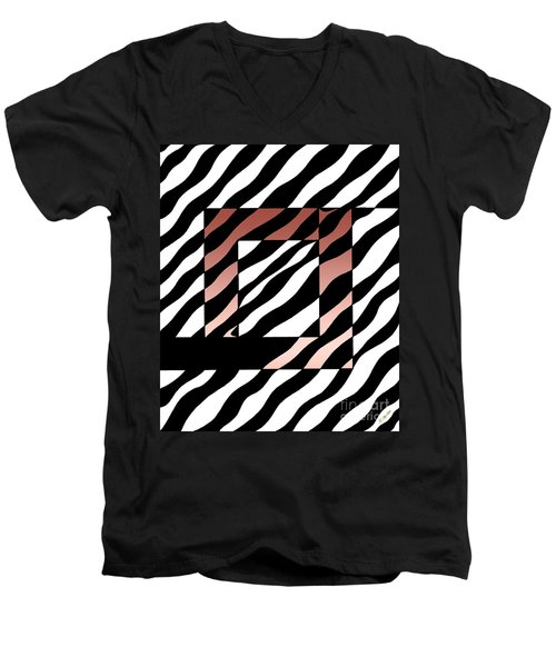 Men's V-Neck T-Shirt featuring the drawing 3 Squares With Ripples by Joseph J Stevens