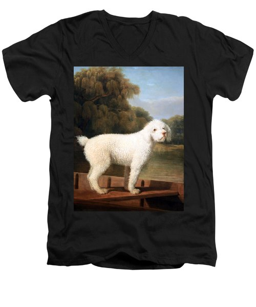 Stubbs' White Poodle In A Punt Men's V-Neck T-Shirt by Cora Wandel