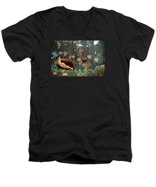The Dream Men's V-Neck T-Shirt by Henri Rousseau