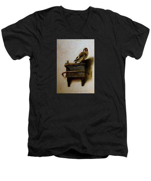 The Goldfinch Men's V-Neck T-Shirt by Carel Fabritius