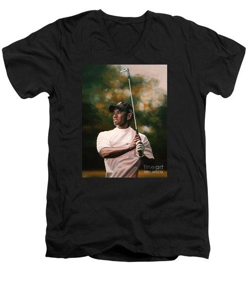 Tiger Woods  Men's V-Neck T-Shirt by Paul Meijering