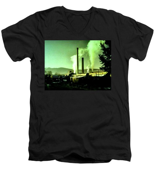 Men's V-Neck T-Shirt featuring the painting Twin Peaks by Luis Ludzska