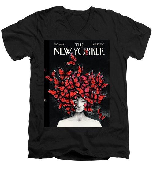 New Yorker March 29th, 2010 Men's V-Neck T-Shirt
